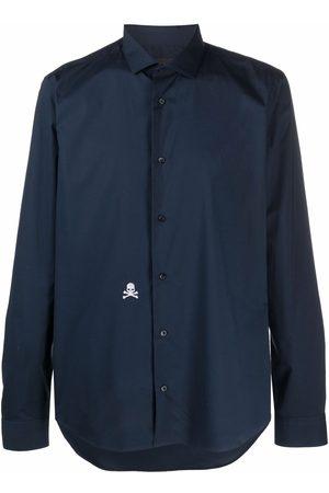 Philipp Plein Men Long sleeves - Sugar Daddy skull-embroidered long-sleeve shirt