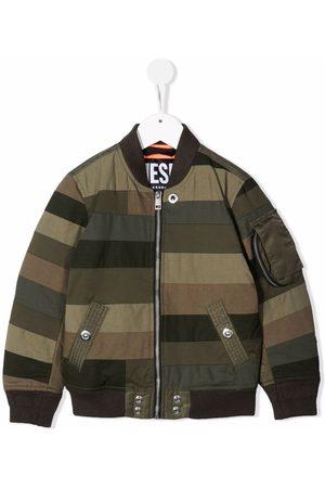 Diesel Bomber Jackets - Striped Patchwork bomber jacket