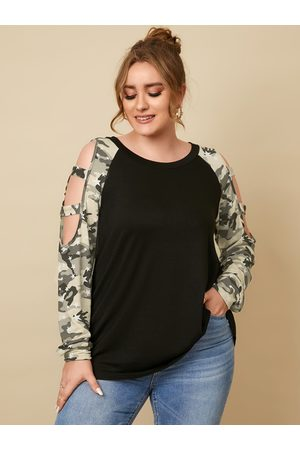 YOINS Plus Size Round Neck Camo Cut Out Knit Long Sleeves Tee