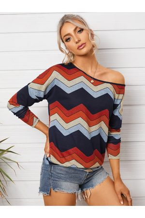 YOINS Wave Striped Round Neck Long Sleeves Tee