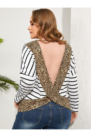 YOINS Plus Size Striped Leopard Backless Design Long Sleeves Tee