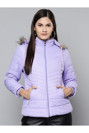 Foreign Culture By Fort Collins Women Purple Hooded Parka Jacket