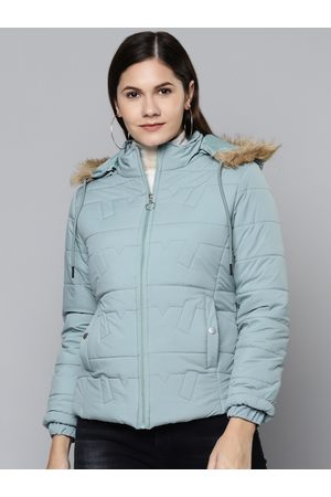 Foreign Culture By Fort Collins Women Blue Hooded Parka Jacket
