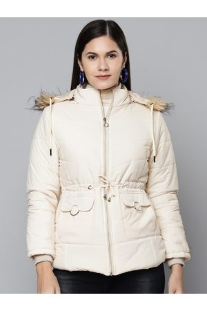 Foreign Culture By Fort Collins Women Off White Hooded Parka Jacket