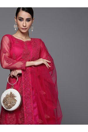 Inddus Women Magenta Embellished Semi-Stitched Lehenga & Unstitched Blouse With Dupatta