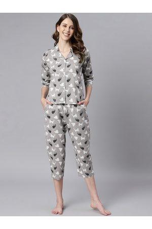 Janasya Women Grey Animal Print Cotton Night Suit Set