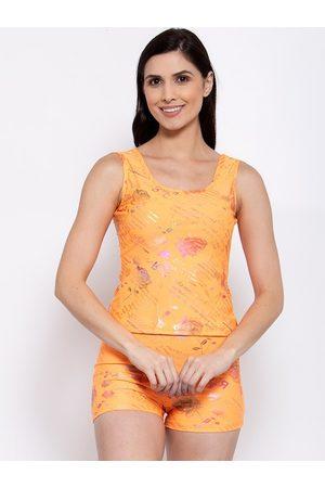 CUKOO Women Orange & Pink Floral Printed Padded Two-Piece Tankini Swimwear