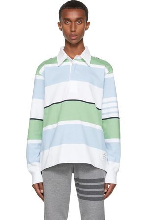 Men Long Sleeve - Thom Browne White & Blue Engineered 4-Bar Rugby Long Sleeve Polo