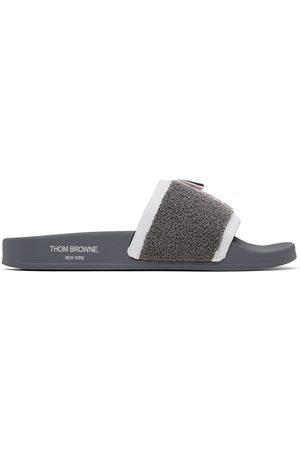 Men Sandals - Thom Browne Grey Terry Cloth Pool Slides