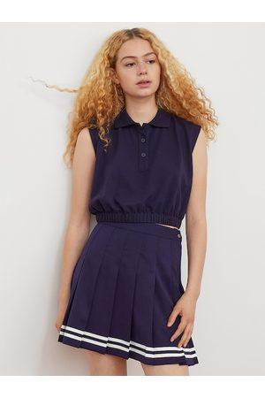 H&M Women Navy Blue Pure Cotton Cropped Polo Shirt