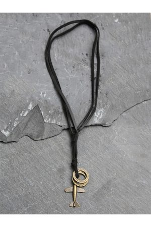 UNKNOWN by Ayesha Men Black & Bronze-Toned Metal Necklace