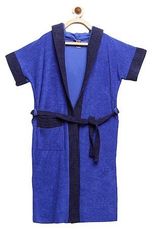 ELEVANTO Unisex Kids Blue Solid BATHKIDOO Bath Robe