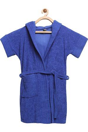 ELEVANTO Unisex Kids Blue Solid Bath Robe