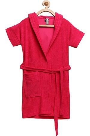 ELEVANTO Unisex Kids Red Solid Bathkidoo Bath Robe