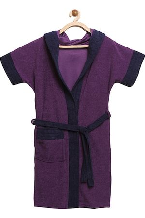 ELEVANTO Bathrobes - Unisex Kids Purple & Navy Blue Colourblocked BATHKIDOO Bath Robe