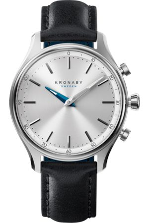 Kronaby Men Sekel 38mm Hybrid Smartwatch - Silver, Black Leather