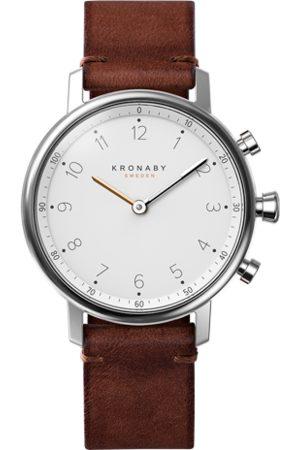 Kronaby Men Nord 38mm Hybrid Smartwatch - White, Dark Brown Leather