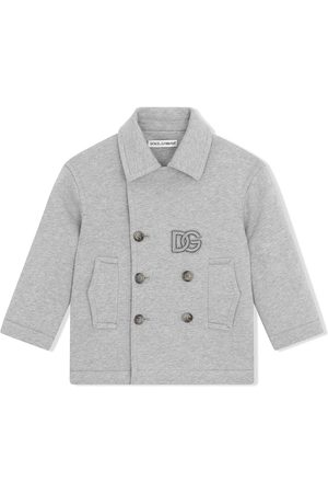 Dolce & Gabbana Double-breasted logo-patch coat