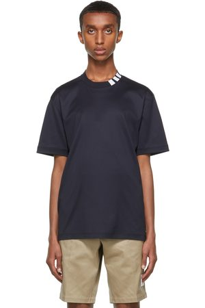 Men Short Sleeve - Thom Browne Navy Interlock 4-Bar Mock Neck T-Shirt
