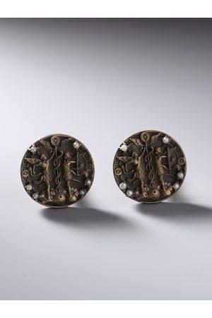 COSA NOSTRAA Men Bronze-Toned Genini Zodiac Sign Cufflink