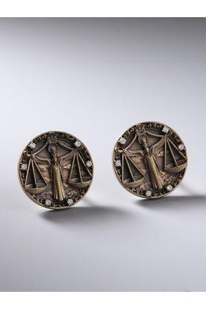 COSA NOSTRAA Men Gunmetal-Toned Libra Zodiac Sign Cufflink