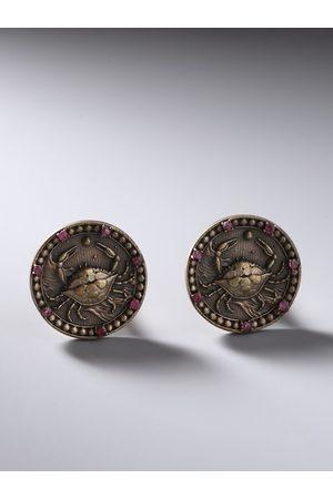 COSA NOSTRAA Metallic & Antique Gold Cancer Zodiac Engraved Round Cufflinks