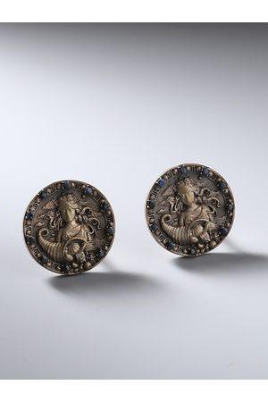 COSA NOSTRAA Metallic & Antique Gold Virgo Zodiac Engraved Round Cufflinks