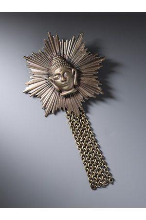 COSA NOSTRAA Men Metallic Artificial Stone-Studded & Beaded Buddha Brooch