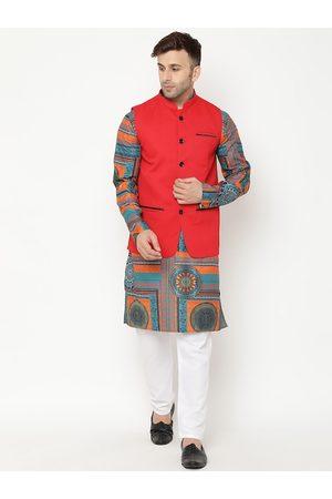 Hangup Men Green Ethnic Motifs Printed Kurta with Pyjamas & Nehru Jacket