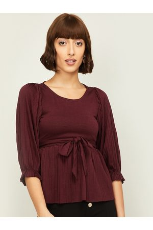 Lifestyle Burgundy Solid Cinched Waist Top With Tie Ups