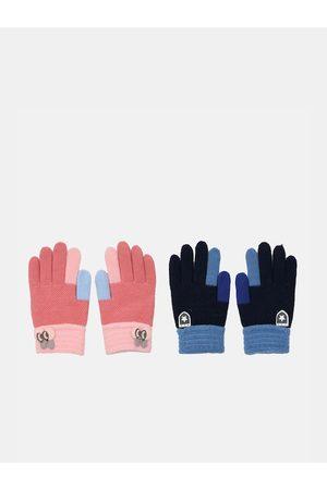 FabSeasons Unisex Kids Pack Of 2 Colourblocked Winter Gloves