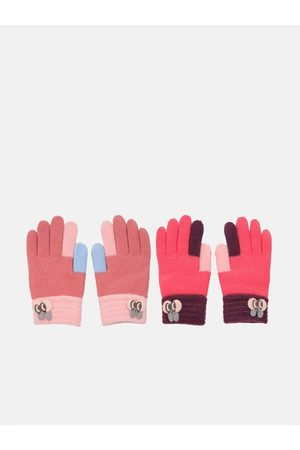 FabSeasons Gloves - Unisex Kids Pack Of 2 Self-Design Winter Gloves