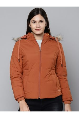 Foreign Culture By Fort Collins Women Rust Orange Hooded Parka Jacket