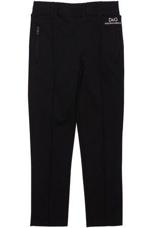 Dolce & Gabbana Girls Leggings - Logo Print Viscose Blend Pants
