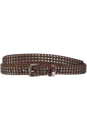 HTC Men Belts - 2cm Studded Leather Belt