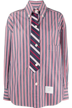 Thom Browne Women Long Sleeve - Trompe l'oeil bar stripe necktie shirt