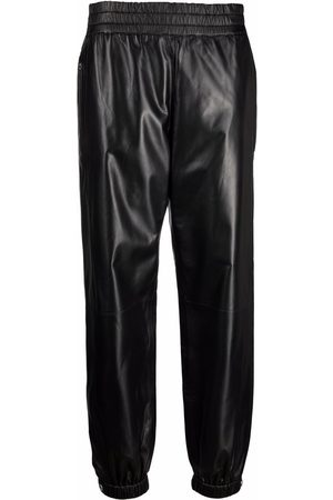Alexander McQueen Women Leather Trousers - Elasticated leather trousers