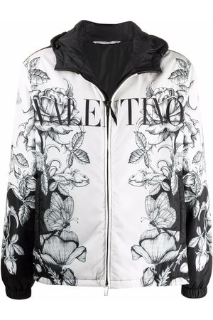 VALENTINO Floral-butterfly print hooded jacket