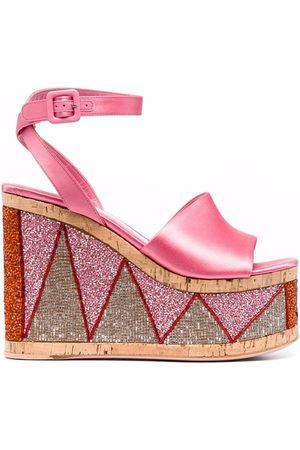 HAUS OF HONEY Women Wedge Sandals - Bead-embellished wedge sandals