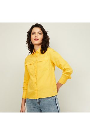 Van Heusen Women Solid Shirt with Long Sleeves and Pocket