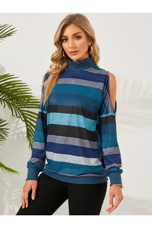 YOINS Colorblock Striped Cold Shoulder Long Sleeves Tee