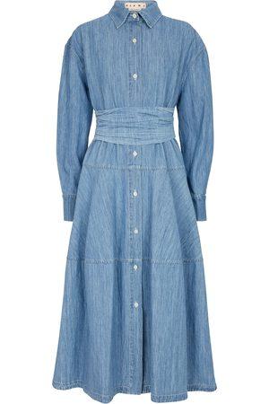 Marni Tiered chambray shirt dress