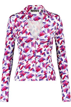 ROTATE Cabaret printed long-sleeved top