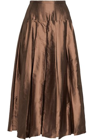 Max Mara Tazzina pleated silk satin midi skirt
