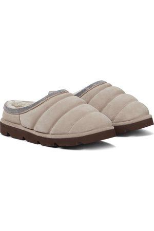 Brunello Cucinelli Embellished suede slippers