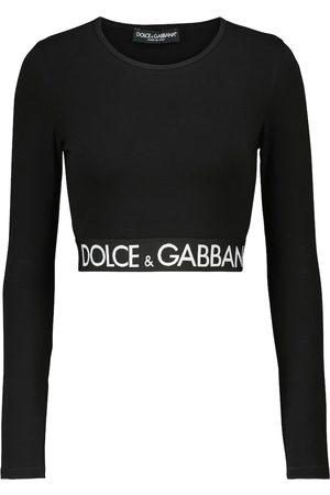 Dolce & Gabbana Logo stretch-cotton crop top