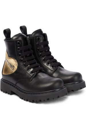 Moschino Logo leather boots