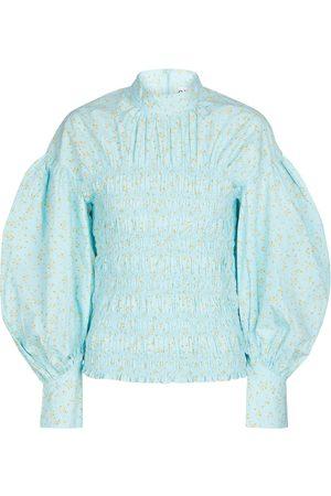 Ganni Floral smocked cotton blouse