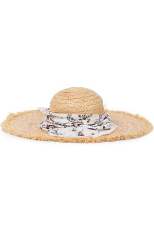 Erdem Vacation raffia hat with bandana