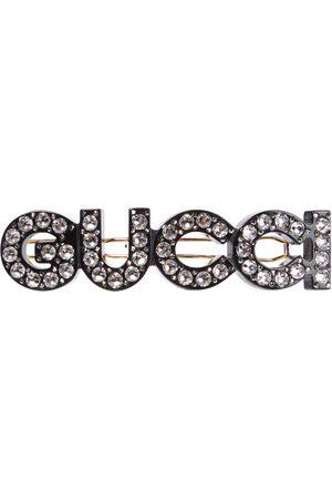 Gucci Logo crystal-embellished hair clip